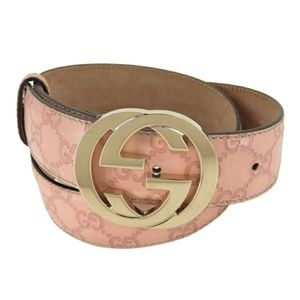 100% AUTH GUCCI GG GUCCISSIMA PINK LEATHER BELT